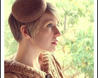 Cocktail hat Mustard Brown Herringbone tweed button hat