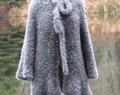 Handknit, Faux Fur Elegance, Womens Gray Knit Jacket, Size 8-12