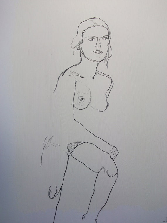 FEMALE NUDE charcoal drawing # 2 // woman painting // original art