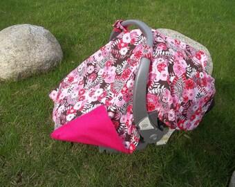 Baby Car Seat Canopy Handmade Floral  Zebra