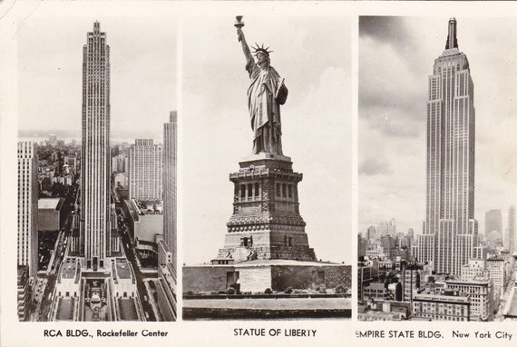 RCA Building- Statue of Liberty- Empire State Building- NYC- 1943 Vintage Postcard- Used