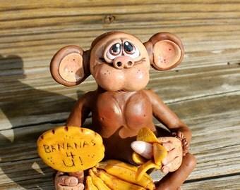Monkey Love Polymer Clay Sculpture