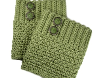 Crocheted Olive Green Boot Cuffs With Antique Brass Olive Green Buttons, Leg Warmers, Boot Socks For Women, Trendy Winter Clothing Accessory