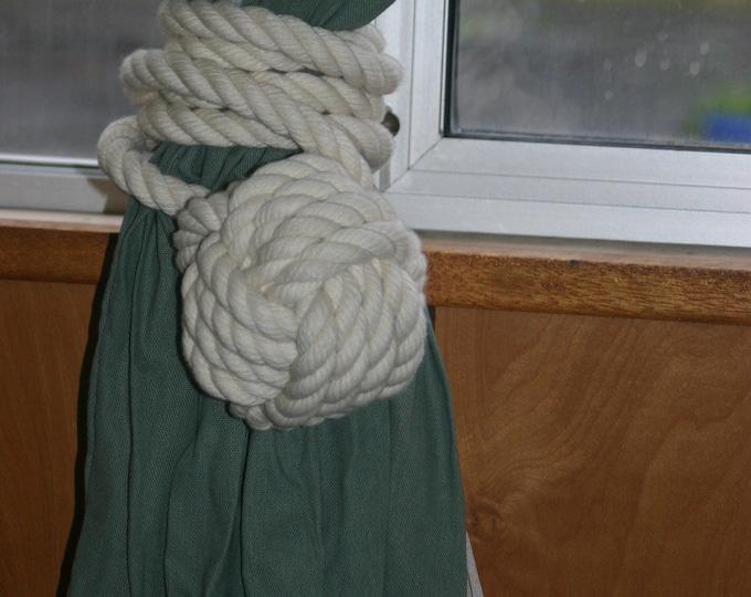 Off White Cotton Monkey Fist Curtain Tie Back Customize your Size Nautical Decor