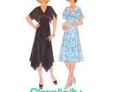 1970s Dress Pattern Simplicity 7939 Misses Handkerchief Hem Evening Dress Empire Waist Womens Vintage Sewing Pattern Bust 32.5