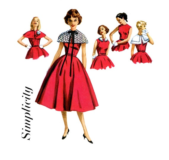 1950s Dress Pattern Simplicity 1972 Junior Full Skirt Dress Detachable Capelet & Collar Bust 37 Womens Vintage Sewing Pattern UNCUT