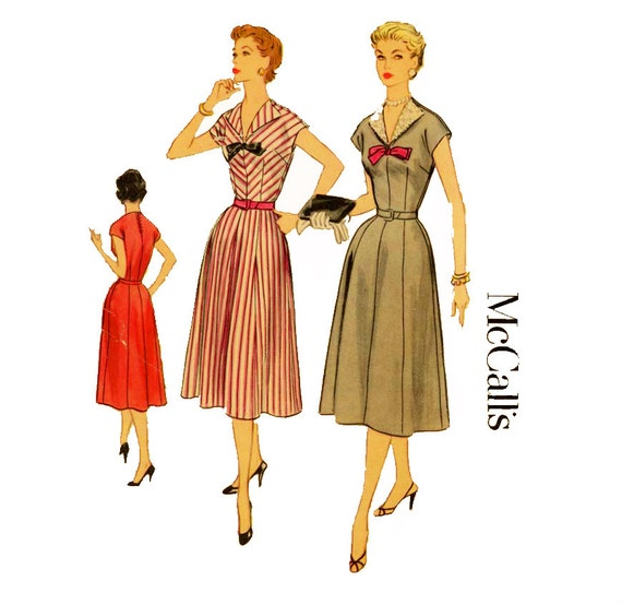 1950s Dress Pattern McCalls 3285 Misses Flared Skirt Day or Evening Dress Detachable Revers Womens Vintage Sewing Pattern Bust 37