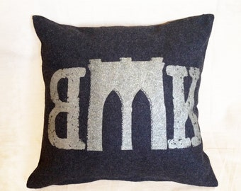 Brooklyn Bridge Pillow from Military Blanket - Gray