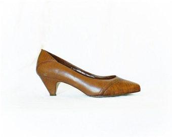 Vintage 80s Pumps Heels 7 M Shoes 40s Brown Gator
