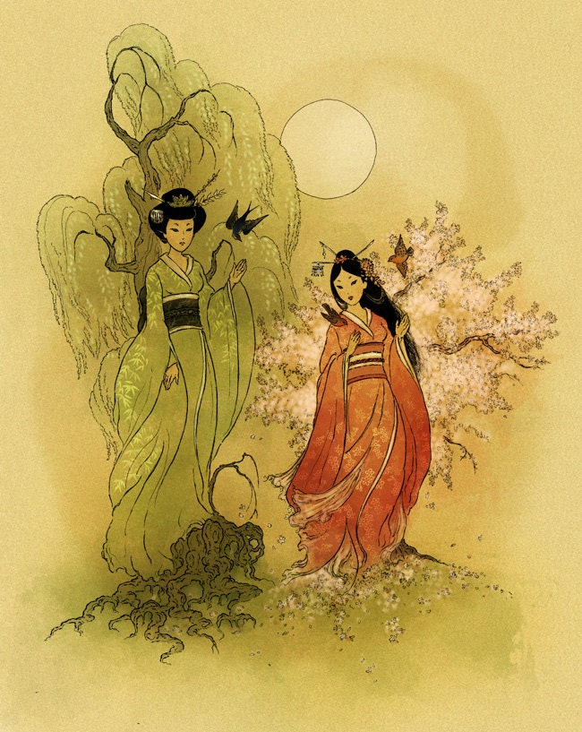 Items similar to Willow and Cherry Tree Goddesses Shinto ...