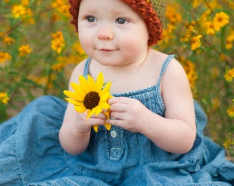 Sunflower Beanie Knitting Pattern - 8 Sizes Included - PDF Sale - Instant Digital Download
