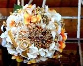 Brooch Bouquet ivory orange gold topaz wedding bouquet with free toss bouquet