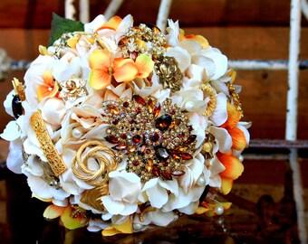 Brooch Bouquet ivory orange gold topaz wedding bouquet, Deposit only