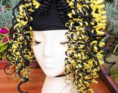 RESERVED Yellow and Black Curled Dread Fall Ponytail