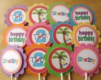 Set of 12 Personalized Cupcake Toppers -Chicka Chicka Boom Boom Inspired -Coconut Tree -Baby Shower -Birthday