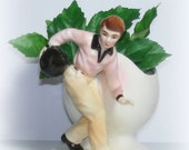 Vintage Bowler Planter  From 50's Authentic Bowling Stance  High Gloss Finish Ceramic Replo/Samson Imports
