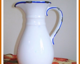 Tall Pitcher or Vase Vintage 9 1/2 inches High White with Blue Trim Scrollwork Handle High Gloss Ceramic