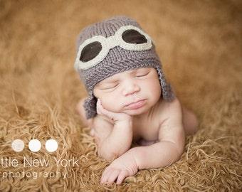Newborn photo prop, Newborn pilot aviator hat, newborn boy, newborn girl, newborn, newborn hat, baby knit hat, photo props