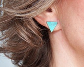 Verdigris Blue Triangle earrings - Handcrafted geometric design - Sterling Silver post studs