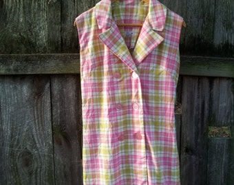 1960s Pink Green Plaid Shift Dress 60s Vintage Mod Preppy White Cotton Serbin Muriel Ryan Day Dress Large Sheath Shirt Dress Summer Sundress