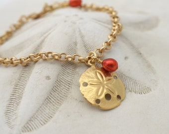 Beach Jewelry, SAND DOLLAR BRACELET by Cheydrea