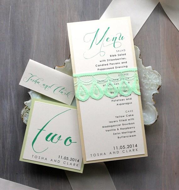 mint green wedding elegant wedding menu card calligraphy