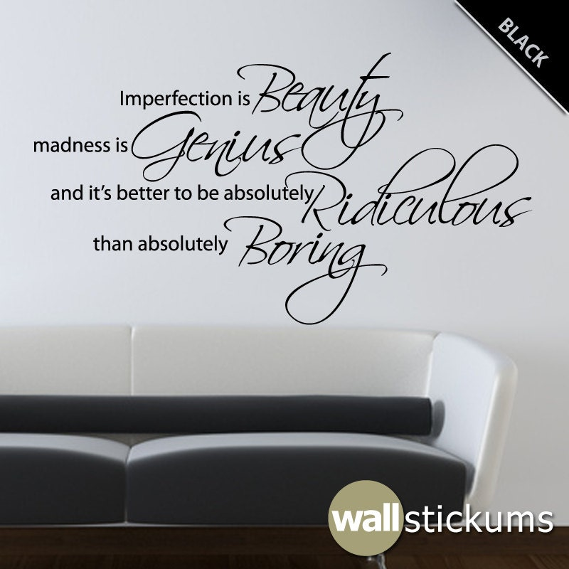 Marilyn monroe wall decal quote vinyl imperfection is beauty 2 for Living room quote stickers
