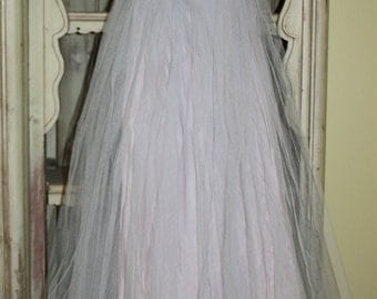 1950s Cupcake Long Party Dress Tulle Sweetheart Neckline Pink Blue Brocade Bodice Junior Size 1 or XXS