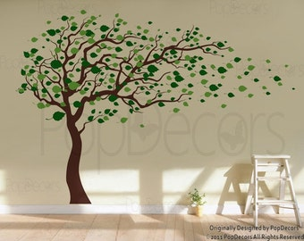 """Tree Wall Decals, Baby Room Decal, Vinyl Wall Decal, Wall Sticker, Living Room Wall Art-Blowing in the Wind (83"""" H)- Office Decal PT-0181"""