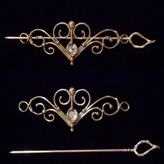 Bronze & Crystal Barrette Design 1