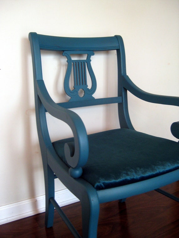 Accent chair dark teal and velvet by greymaggy on etsy - Dark teal accent chair ...
