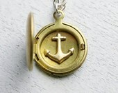Anchor Necklace, Locket, Personalized Locket Necklace, Personalized Necklace, Anchor Locket, Wedding Gifts, Gift Ideas for Her,