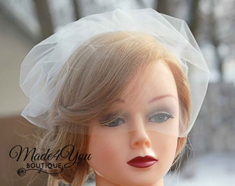 Nose Level Tulle Veil-Birdcage Veil-Wedding Tulle Veil-Veil Only-Ivory, White or Champagne