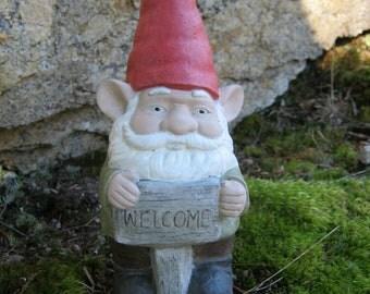 """Gnomes, Concrete Garden Gnome Welcome """"Dalfoodle"""""""