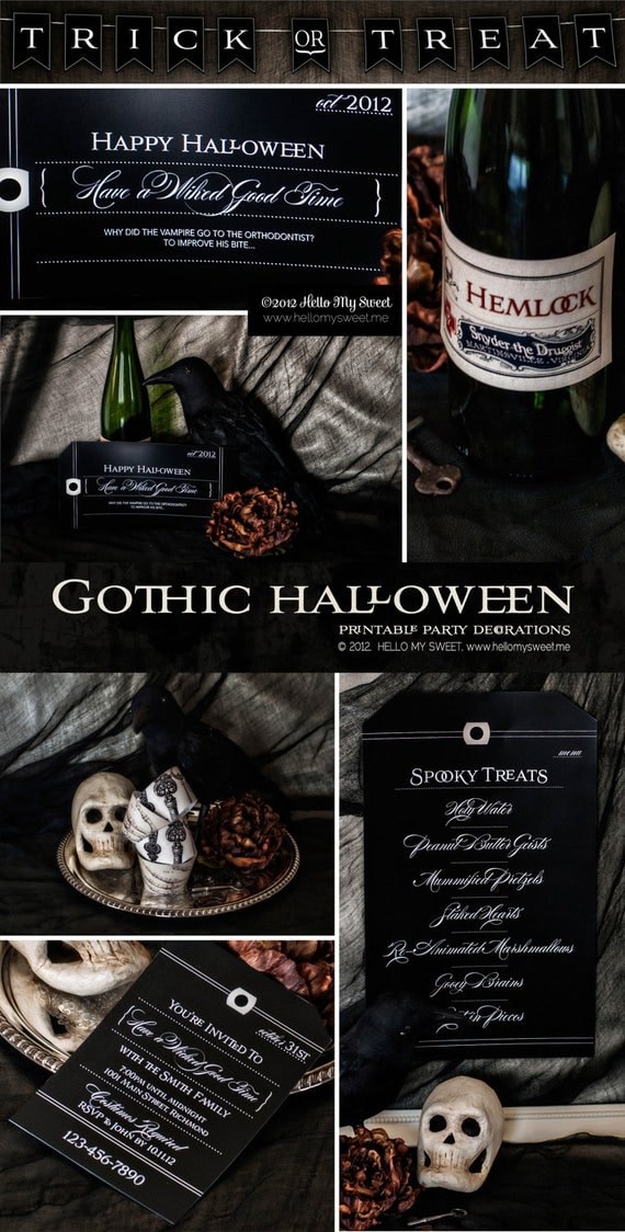 Halloween Party - Gothic Wedding - Printable Dessert Table Party Decorations - FULL SET