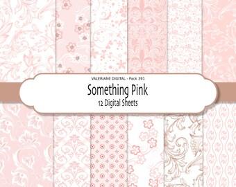Pink digital paper, pink wedding paper, pink scrapbook paper, floral paper in pink and brown, digital backgrounds - 391