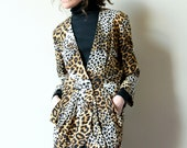 80s Leopard Print Jacket, avant garde draped soft blazer, high fashion silhouette, exotic patchwork animal print, tulip peplum, office punk