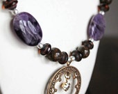 Amethyst, Bronzite and Czech Bead Necklace