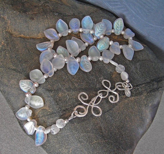 Freshwater Pearls Necklace with Moonstones and Petals in Sterling Silver, with Handmade Forged Clasp, June is Pearls Month for Brides