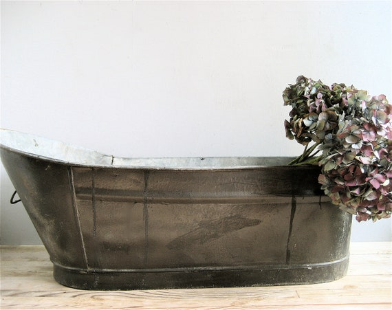 Antique baby metal wash tub by lovintagefinds on etsy for Old metal wash tub