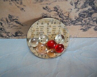 Jar Lid Fridge Magnet / Music Hymnal Pages Recycled Mason Jar Lid and Glass Marble Fridge Magnet