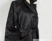 1940s Robe Black House Coat Quilted Coat Black House Robe Coat Quilted Coat Vintage 40s Black and Red Evening Bath Robe Womans Housecoat