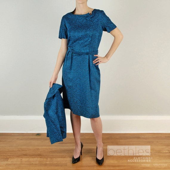 1960s Dress Blue Dress and Short Jacket in Dark Womans Suit Blue and Black Suit 60s Blue Short Sleeve Dress Belted Dress