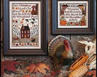November Book No. 149 OPTIONAL threads needles : Prairie Schooler cross stitch pattern Thanksgiving counted cross stitch diy