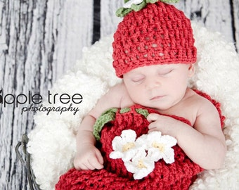 Crochet Pattern for Berrylicious Strawberry Cocoon - 5 sizes, preemie to 12 months - Welcome to sell finished items