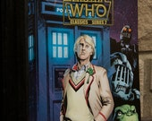 Vintage 5th Doctor Who, and Robots lined notebook Journal - 5th Doctor