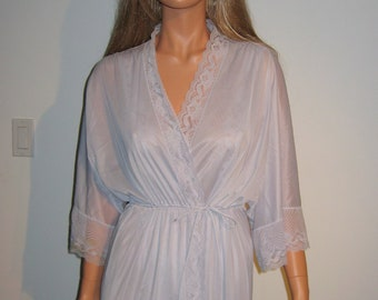 Sexy Long Nightgown & matching Peignoir. 1970's Vintage.   Size Medium.  Dusty Blue Nylon.  Made in USA