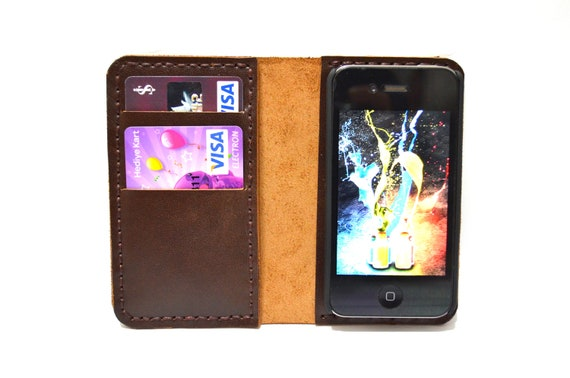 iPhone 4 Wallet Case with Bumper attachment -Dark  Brown-UNIQUE