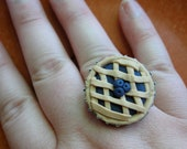 Blueberry Pie Ring - Polymer Clay Pie Adjustable Ring