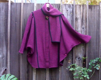 Vintage Wool Hounds-tooth Draped Cocoon Cape Coat Scarf Collar  Batwing Jacket